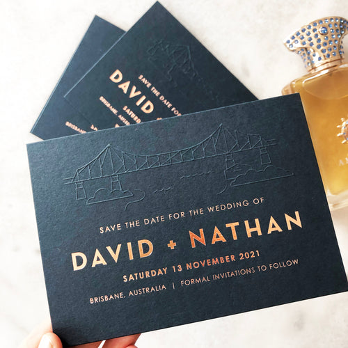 Navy + Rose Gold Save The Date