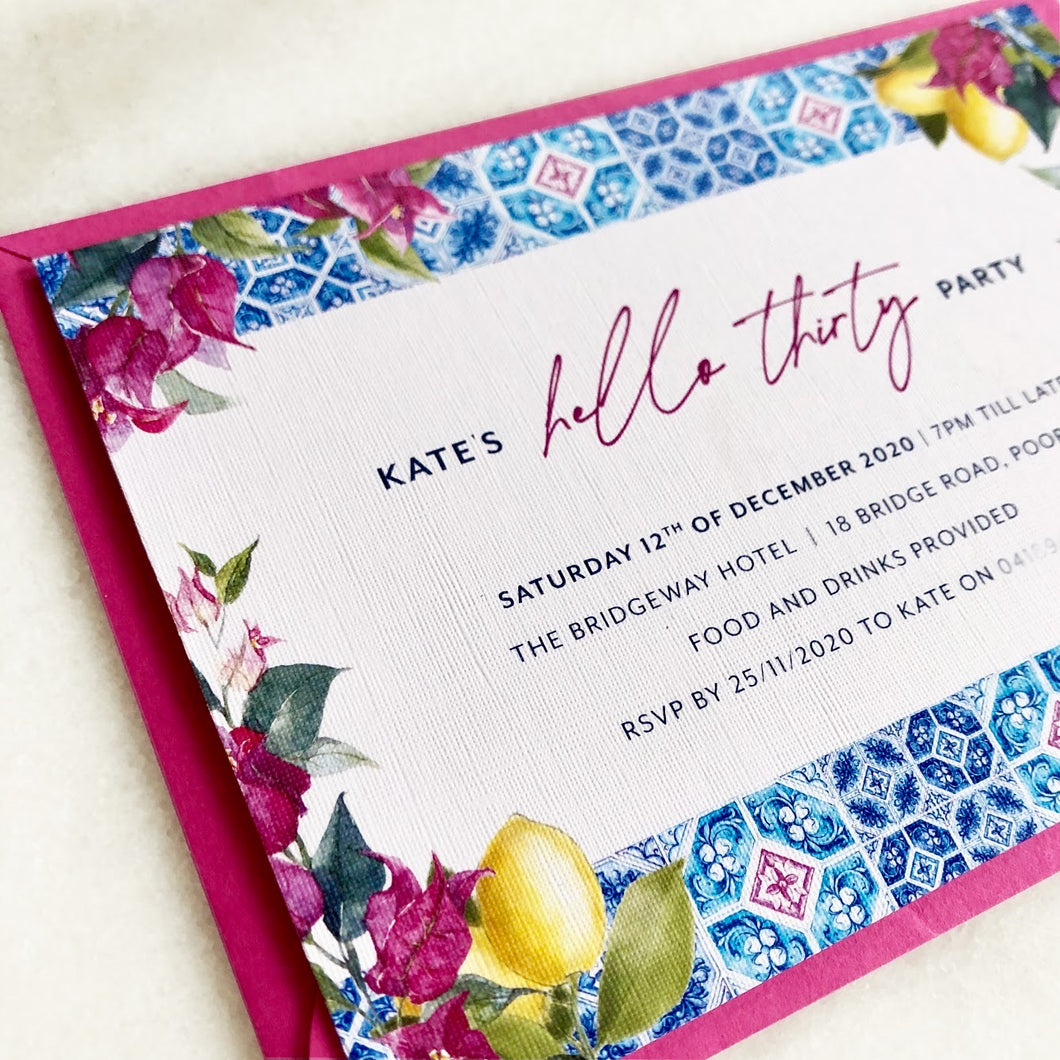 Hello Thirty invitation