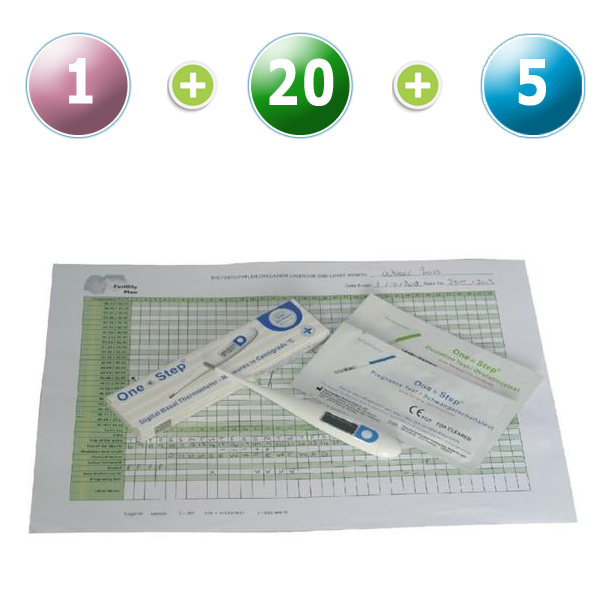 1 Thermomètre digital BBT + 20 tests d'ovulation 20mIU (Bandelettes) + 5 tests précoces de grossesse (10mIU)
