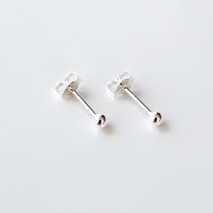 3mm Silver Ball Studs - Evie Atelier