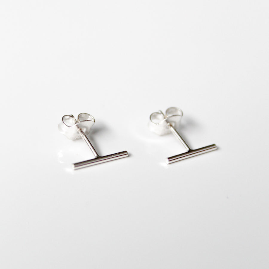 Silver Bar Studs - Evie Atelier