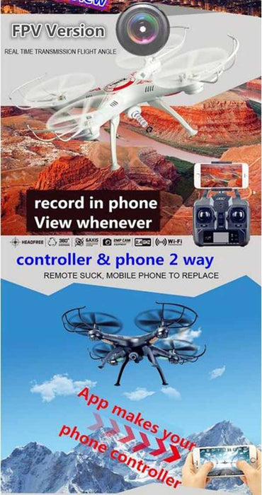 X5SW-1 Quadcopter Headless RC Drone with Wifi FPV Camera 6-Axis Real-Time Video-ZHENDUO