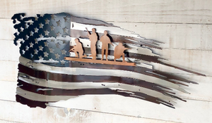 Aged Tattered Flag with Soldiers