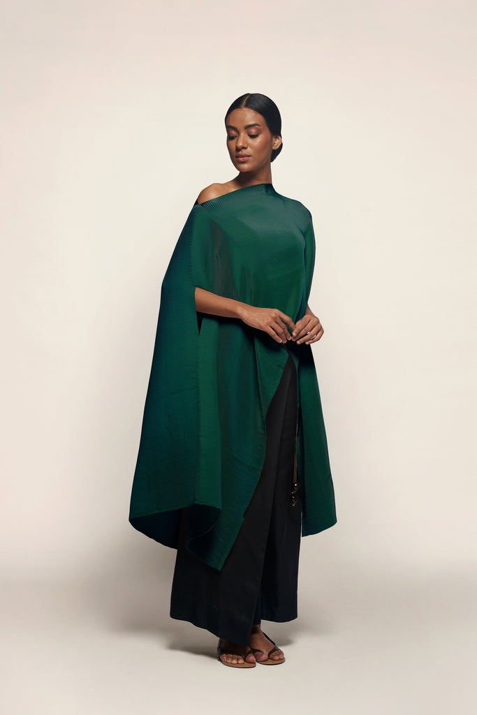 Pleated Long Poncho