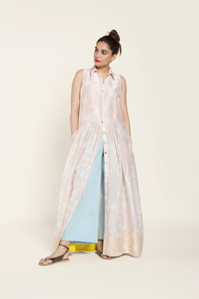 Printed Chanderi Silk Shirtdress