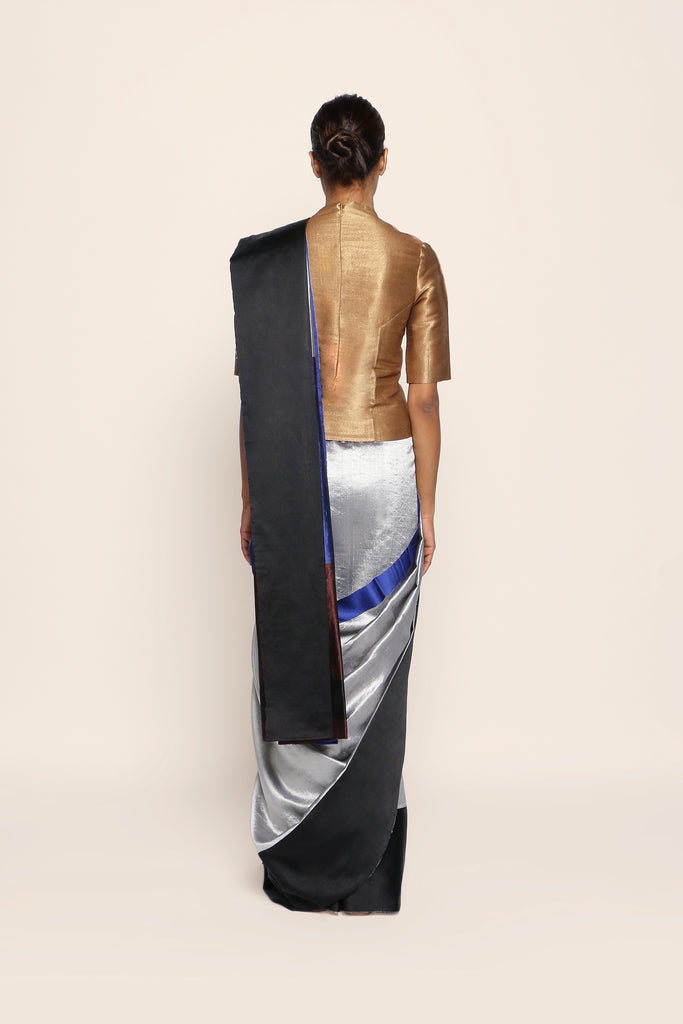 Reversible Silk Sari - Silver, Black + Midnight Blue