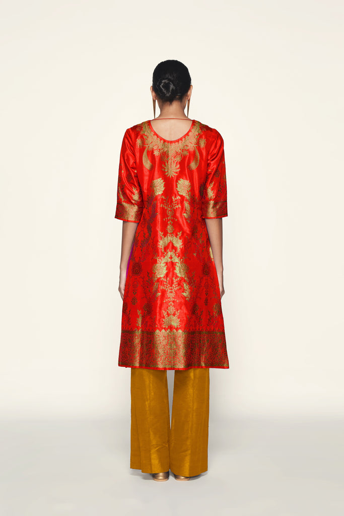 Handwoven Silk Engineered Brocade Kurta