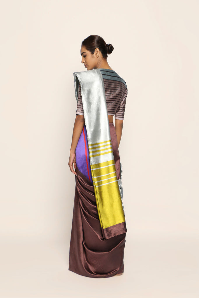 Reversible Silk Sari - Grey, Coffee + Citrine