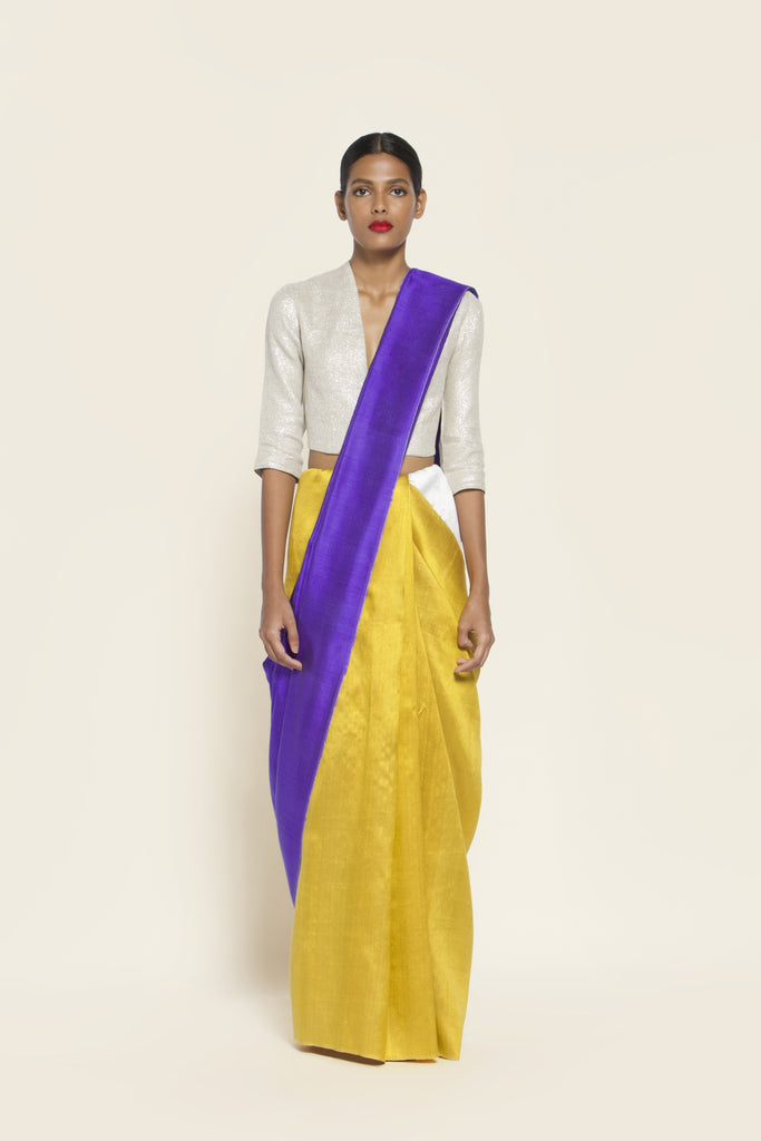Reversible Silk Sari - Ultra Violet + Canary Yellow