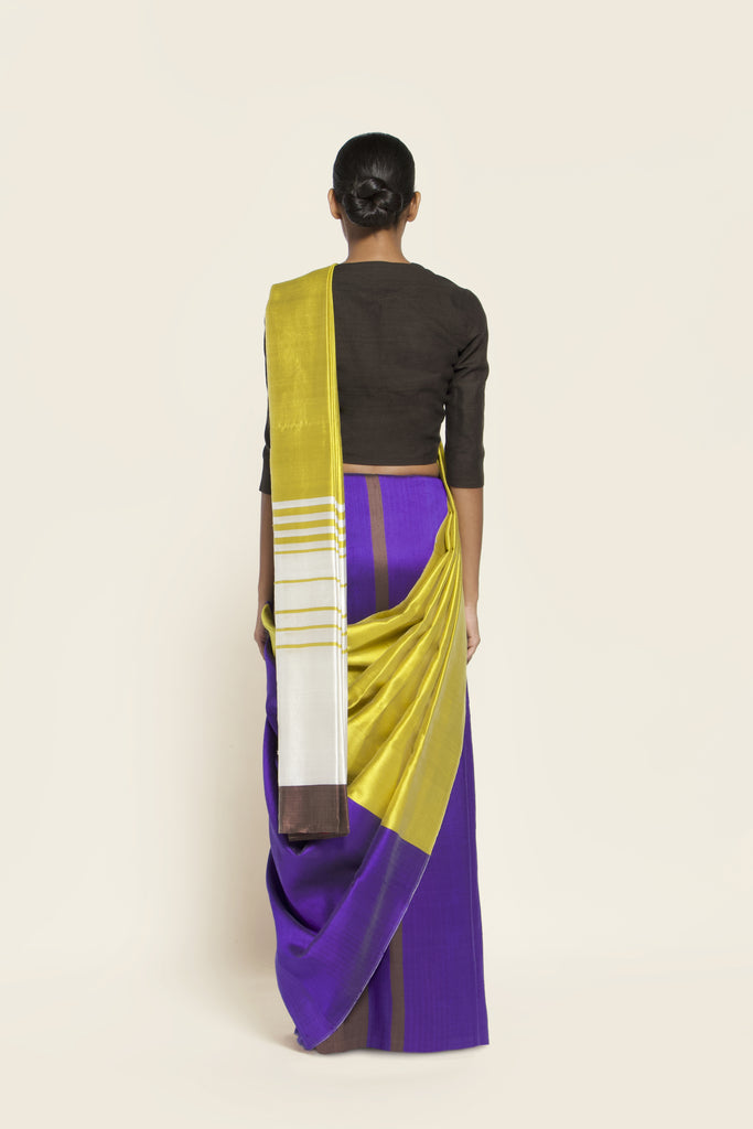 Reversible Silk Sari - Canary Yellow + Ultra Violet