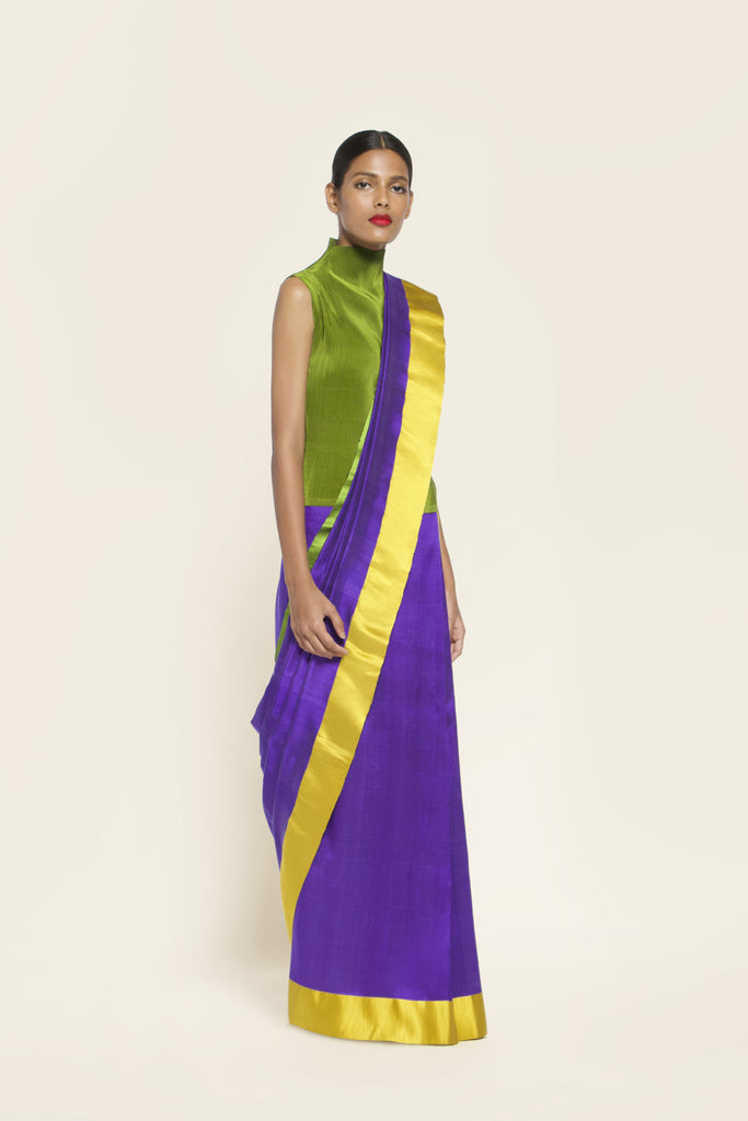Reversible Silk Sari - Ultraviolet , Leaf Green + Canary Yellow
