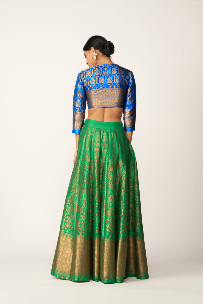 Handwoven Silk Brocade Lehenga Set