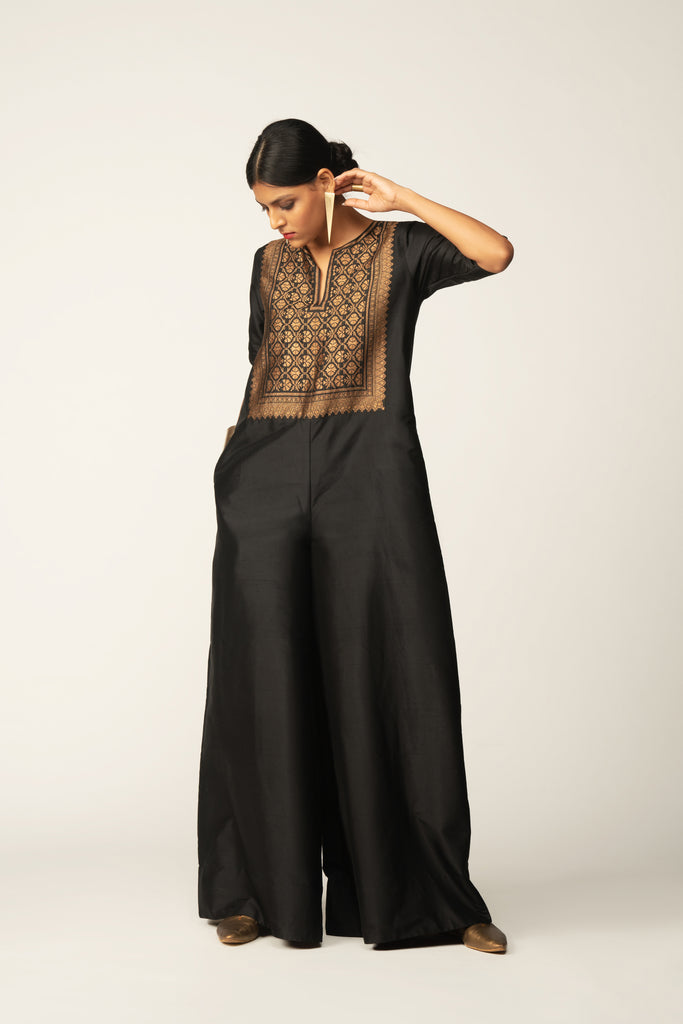Silk Jumpsuit with Brocade Yoke