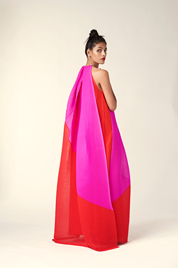 Pleated Colour Blocked Maxi