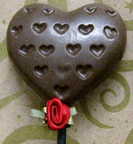 Heart chocolate lollipop