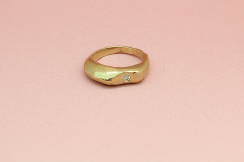 Curved Ring with Single Stone in Brass