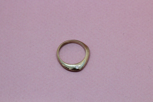 Angular Ring with Side Setting in Brass