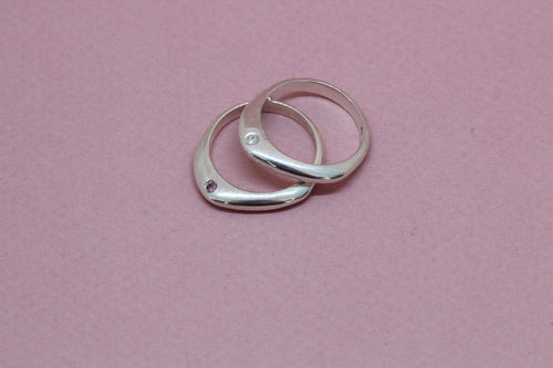 Angular Ring with Side Setting in Silver