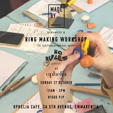 Load image into Gallery viewer, Ring Carving Workshop: Made By x No Rules Cafeteria at Ophelia Cafe (JHB): Sunday 27 October