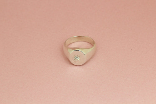 Signet Ring with Single Star Setting in Silver