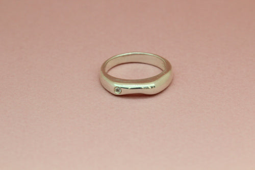 Curved Ring with Single Stone in Silver