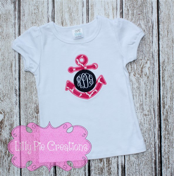 Anchor Monogram girls Shirt - Lilly Pie Creations