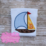 Monogram Sailboat Boys Summer Applique Shirt - Boys Boat Shirt