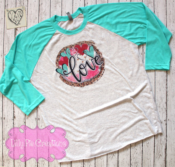 Cheetah Love Valentine's Day Shirt for Ladies - Valentine's Day Raglan