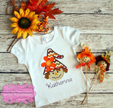 Girl Fall Applique Scarecrow Shirt - Girls Thanksgiving Shirt