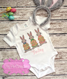 Girls Easter Bunny Trio Applique Shirt - Easter Shirt for Girls