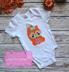 Girl Fall Fox Shirt - Fox Pumpkin Applique Shirt