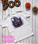 Halloween Witch Kitten Girls Shirt - Girls Halloween Cat Tee