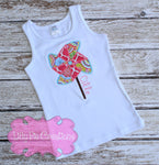 Pinwheel Applique Shirt - Girls Summer Tank Top
