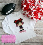 Cheerleader Applique Girls Shirt