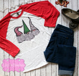 Gnome Christmas Raglan, Christmas Sublimated Graphic Tee
