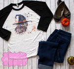 Ladies Halloween Witch Owl Raglan - Halloween Teacher Shirt