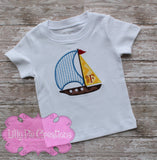 Sailboat Applique Boys Summer Shirt