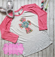 Monogram Easter Ladies Shirt - Floral Cross raglan