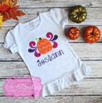 Swirly Pumpkin Girls Shirt - Girls Applique Pumpkin Tshirt