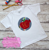 Apple Monogram Applique Back to School Shirt