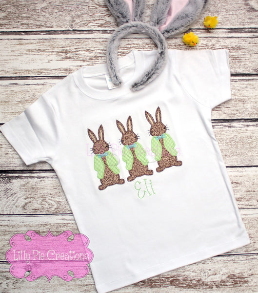 Boy Easter Bunny Trio Applique Shirt - Easter Shirt for Boys