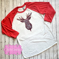 Buffalo Plaid Reindeer Christmas Shirt - Ladies Christmas Raglan