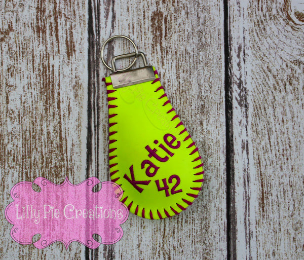 Custom Embroidered Softball Key Chain - Made from a Real Softball