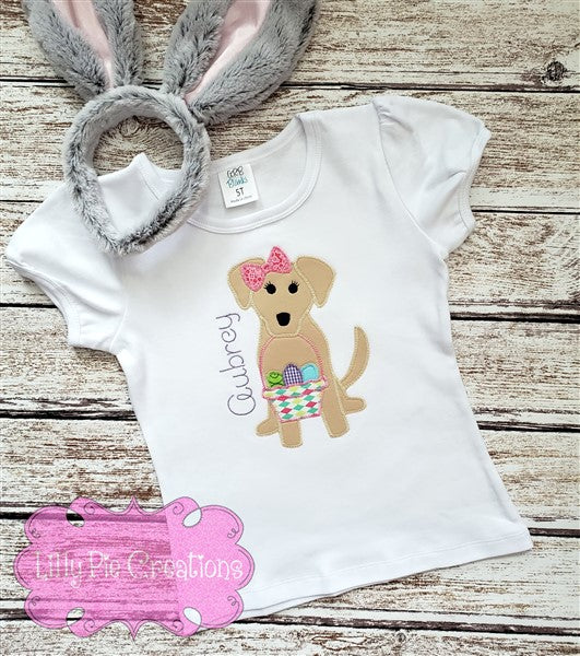 Girls Easter Puppy Applique Shirt - Easter Shirt for Girls