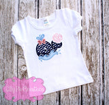 Girls Whale Applique Tshirt lilly pie creations