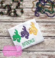 Crawfish Applique Personalized Shirt - Boys Mardi Gras