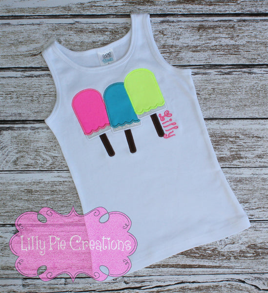 Kids Popsicle Applique Shirt - Lilly Pie Creations