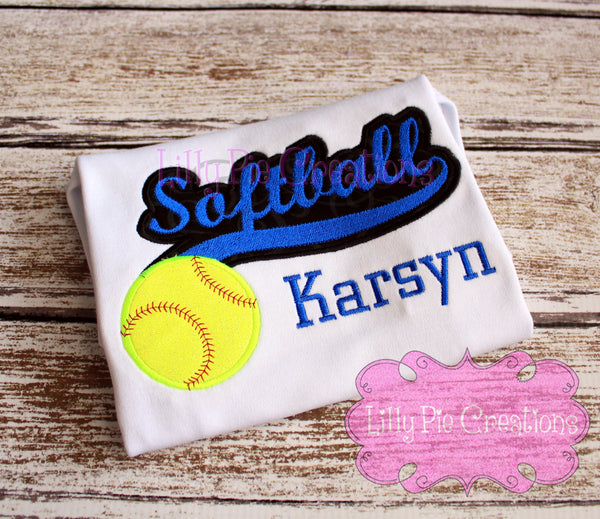 Girls Softball Script Shirt - Softball Sister Applique Shirt