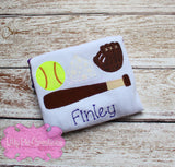 Kids Baseball Trio Applique Tshirt- Boys, girls and baby shirt styles available