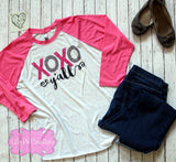 XOXO Y'all Valentine's Day Shirt - Ladies Valentines Day Raglan